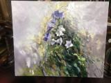 107 Tablou cu peisaj abstract de primavara, Tablou cu flori mov de camp