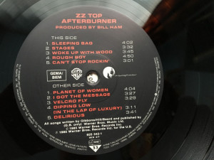 ZZ TOP - AFTERBURNER (1985, WARNER BROS, Made in GERMANY)