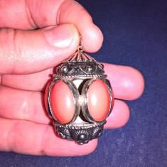 Pandantiv vintage, metal, Crom