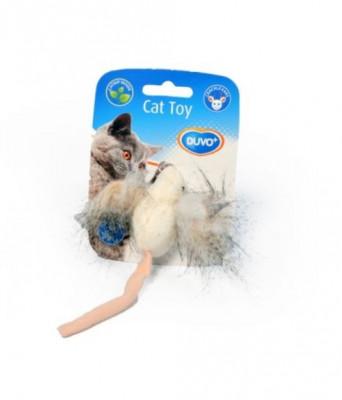 Soricel de jucarie cu urechi din pene pentru pisici din material textil, Duvo+ foto
