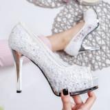Pantofi Vilasi albi cu dantela