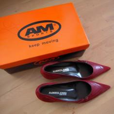 Pantofi de dama cu toc 4 cm., ALBERTO ZAGO, piele, marimea 35,5, culoare visiniu