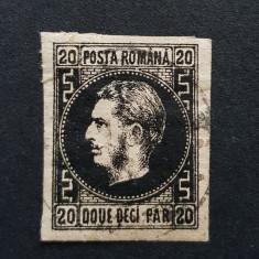 Romania 1867 Carol I cu favoriti 20p. punct in greaca,h. subtire. Vezi foto!!