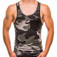 Maiou pentru barbati, camuflaj, stil militar, verde - S829