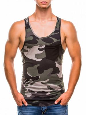 Maiou pentru barbati, camuflaj, stil militar, verde - S829 foto