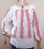 Ie romaneasca brodata manual , camasa populara  lucrata manual panza topita M, Rosu