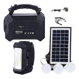 Kit solar Gdplus GD8161, lanterna LED, radio FM, USB, 3 becuri