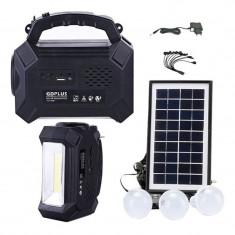 Kit solar Gdplus GD8161, lanterna LED, radio FM, USB, 3 becuri