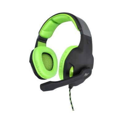 Casti de gaming cu microfon, stereo cu Mufa Jack 3.5mm + Adaptor (Negru/Verde) ART Lizard foto