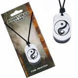 Colier din șnur, plăcuță de metal cu simbol yin și yang