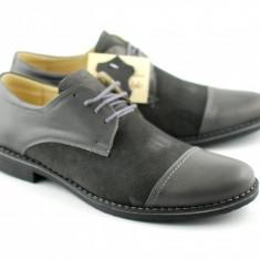 Pantofi gri barbati casual - eleganti din piele naturala