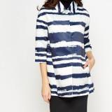 Sacou/blazer model elegant  dungi stilizate  - culoare albastru/alb, Din imagine, M/L