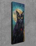Superb tablou mare efect 3D - PISICA NEAGRA, INIMA ROSIE si LUNA pe fundal-panza
