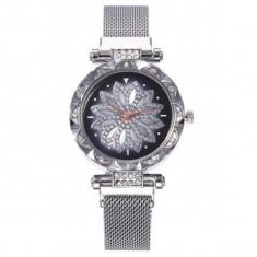 Ceas dama GENEVA CS1183, model Starry Sky, bratara magnetica, elegant, silver