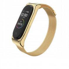 Curea otel inoxidabil Tech-Protect Milaneseband Xiaomi Mi Band 3/4 Champagne Gold