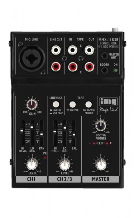 Mini mixer audio 2 canale Stage Line MMX-11USB