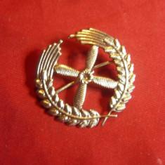 Insemn Militar de Aviatie vechi , metal argintat , d=3,3cm