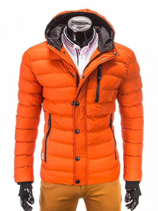 Geaca pentru barbati, portocaliu, ideal ski, de iarna cu gluga, fermoar si nasturi, model slim - c124