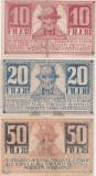ROMANIA ASIGNATA TIMISOARA 10, 20, 50 FILERI 1919 UZAT, VF