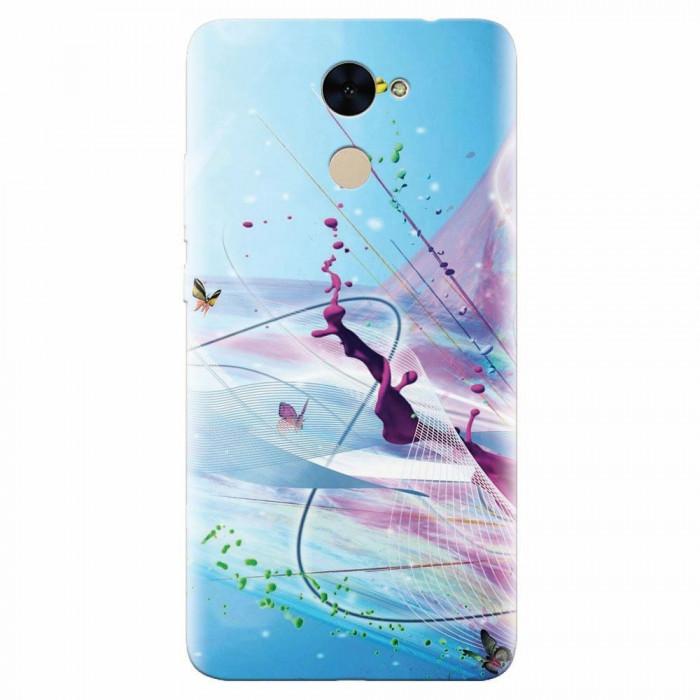Husa silicon pentru Huawei Enjoy 7 Plus, Artistic Paint Splash Purple Butterflies
