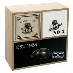 Cutie pentru depozitare din lemn, model cu 3 sertare, 23x24x10 cm