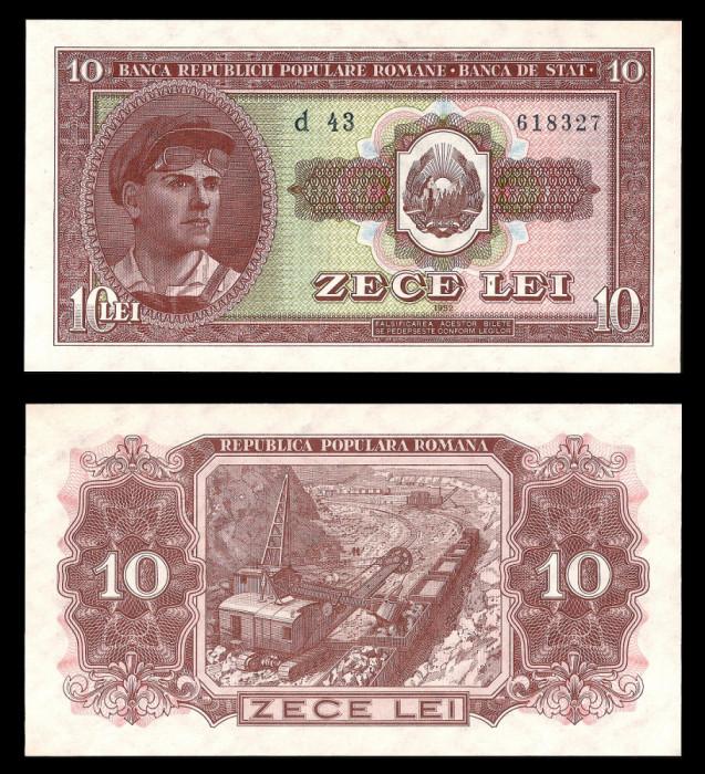 Bancnote Romania, bani vechi, 5 lei 10 lei 1952, calitate UNC