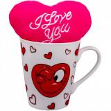 Cana de Portelan Cu Inimioara + Inima de Plus, Cadouri Valentine`s Day