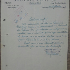 Document Costin Metal, Societate Articole Metalice Bucuresti 1947