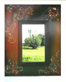 Oglinda Rosemaling- fond verde si nuante de maro