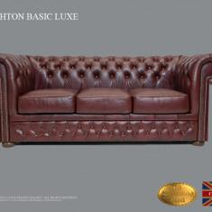 Canapea Chesterfield Basic Lux-Cloudy Red-3 locuri -Piele naturală
