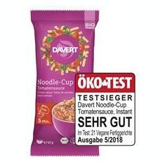 Paste Spirale cu Sos de Rosii Noodle Cup Bio 67gr Davert Cod: 4019339646007