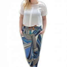 Pantalon salvar de vara, albastru deschis, cu model abstract