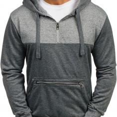 Bluză cu glugă pentru bărbat gri-antracit Bolf 2195