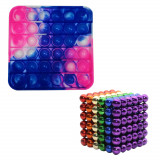Set jocuri de indemanare, bile magnetice si pop it, multicolor
