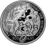 Moneda Romania 10 Lei 2013 - Proof ( 100 ani de la primul joc de rugby - argint)