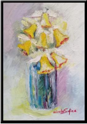 Narcise, tablou pictura ulei pe panza un cadou de neuitat foto
