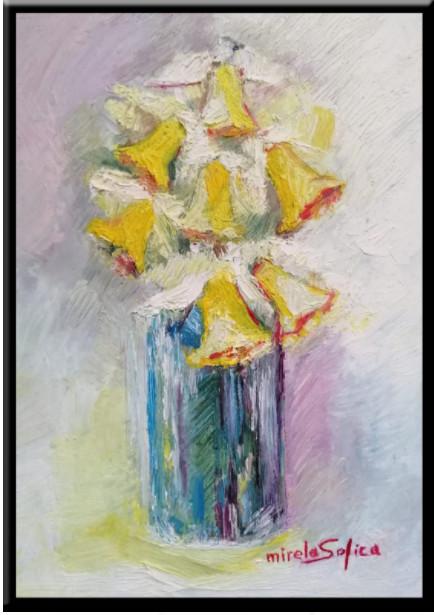Narcise, tablou pictura ulei pe panza un cadou de neuitat