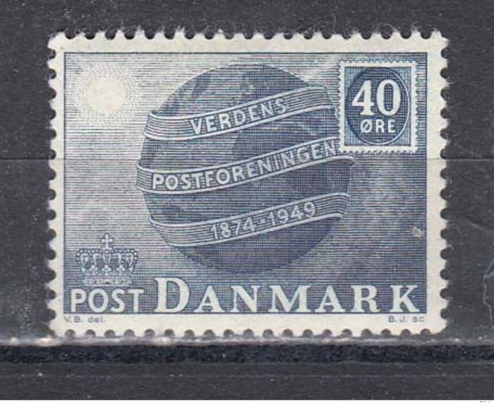 DANEMARCA 1949 -  ANIVERSARE 75 UPU TIMBRU NESTAMPILAT