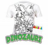 Tricou de colorat cu markere lavabile Dinozauri 7-8 ani