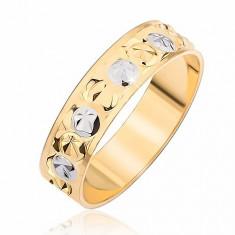 Inel în două culori - adâncituri rotunde şi în formă de stea - Marime inel: 51