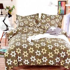 Lenjerie de pat din Bumbac Satinat pentru 2 persoane cu 4 piese F12B 18, 230x250 cm, Set complet