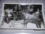 Fotografie veche,caleasca cu cal si in fundal masini Dacia 1100 si Renaul 12,T.G