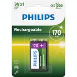 Philips MultiLife 9V 170mAh baterie reincarcabila HR22 / 6HR61 Conținutul pachetului 1 Bucată