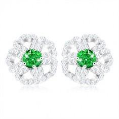 Cercei din argint 925, floare zirconiu strălucitor cu mijloc verde
