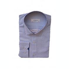 Camasa fashion cu croiala cambrata, alba cu imprimeu albastru