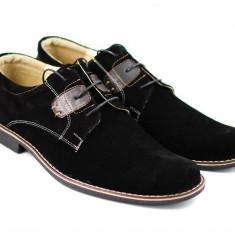 Pantofi casual - eleganti din piele naturala intoarsa de culoare neagra - Beny