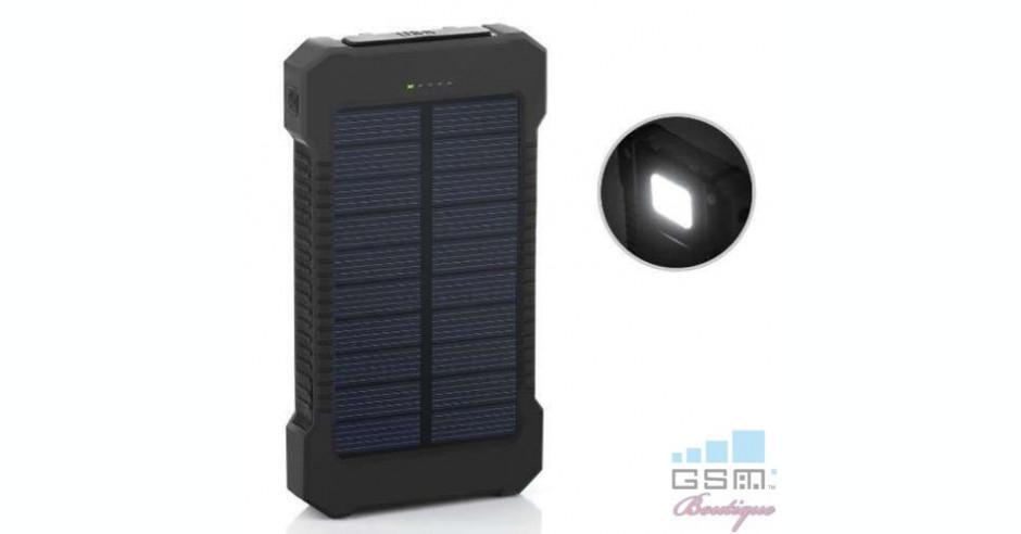 0198a66db17 Acumulator Extern iPhone Samsung Huawei Allview Dual USB Power Bank  10000mAh Cu Incarcare Energie Solara Negru | arhiva Okazii.ro