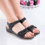 Sandale dama cu talpa ortopedica negre Tanishi