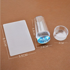 Stampila Unghii din Silicon Transparent cu Capac Vanilla Nails