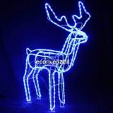 Reni de Craciun 3D cu Coarne Animati Furtun Luminos LEDuri Albastre